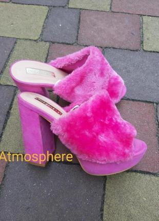 Розовые меховые туфли мюли босоножки atmosphere