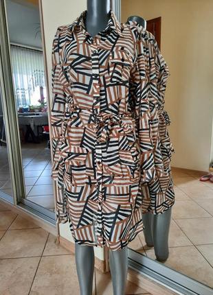 Стильное с карманами и поясом платье 👗,  удлинённая рубашка, туника большого размера