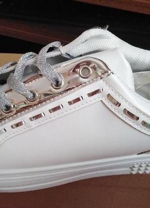 Кроссовки кеды женские белые с серебристыми вставками