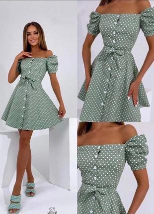 Платье в горошек коттон разные цвета