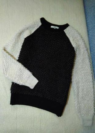 Черный белый свитер барашек плюшевый пепельный от next, xs, s