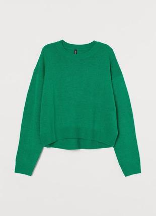 Легкий свитер h&m в актуальном зелёном цвете
