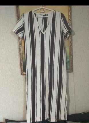 Удобное мягкое платье в полоску