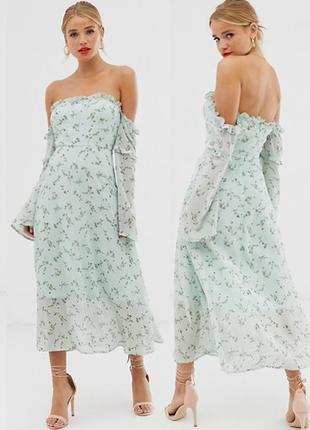 Распродажа платье boohoo миди с открытыми плечами и расклешенными рукавами asos