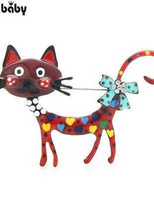 Красивая и позитивная брошь брошка кошка кошечка эмаль