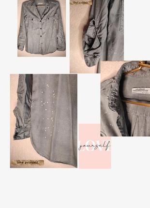 Оливковая оверсайз рубашка от zara
