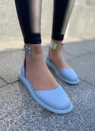 Туфли балетки кожаные на танкетке