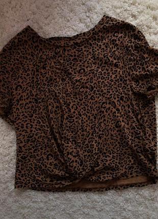 Леопардовая футболка топ h&m