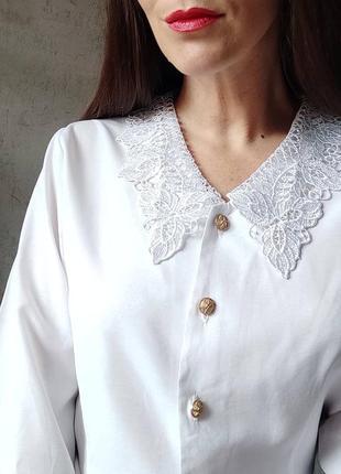 Винтажная блуза рубашка винтаж ретро кружевной ворот воротничек