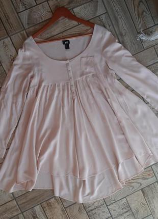 Пудровое платье туника свободного кроя h&m