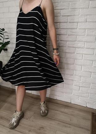 Платье, вискоза чёрное в полоску сарафан, туника