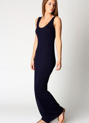 Черное прямое базовое платье -майка в пол, длинное, макси / хлопок asos