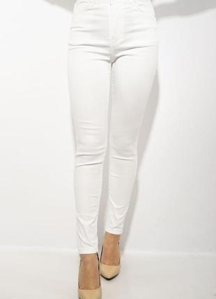 Джинсы женские 623f2021 однотонные  белые skinny скинни