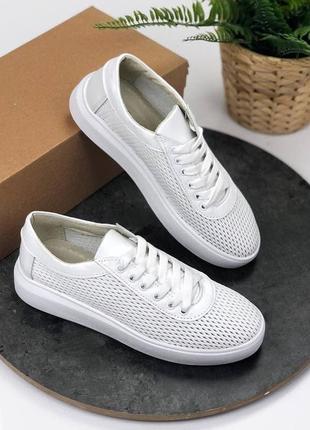 Базовые кожанные перфорация кеды👟кроссовки женские белые на шнурках