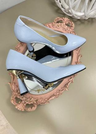 Эксклюзивные туфли лодочки итальянская кожа и замша люкс голубая рептилия
