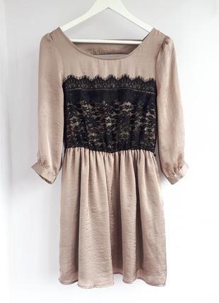 Сатиновое платье кофейного цвета атласное платье с кружевом нарядное платье сатин атлас