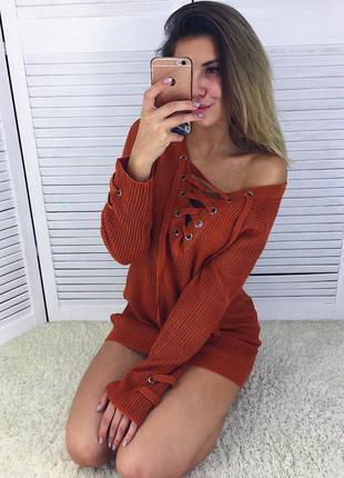 Актуальный свитер со шнуровкой 4 цвета