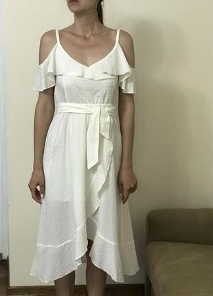Белое платье с воланами платье миди платье на запах нарядное платье из хлопка
