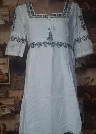 Платье,платье-вышиванка esprit,р.36/s,германия,лен+хлопок.