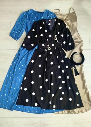 Платье чёрное в горох нарядное