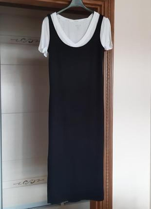 Черное платье-майка миди