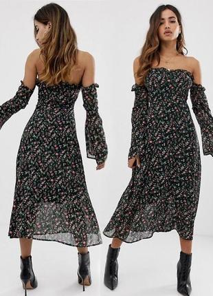 Распродажа платье boohoo миди с открытыми плечами с asos
