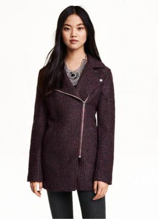Байкерское бордовое пальто h&m