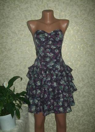 Шикарный сарафан,платье с оборками , шелк+котон