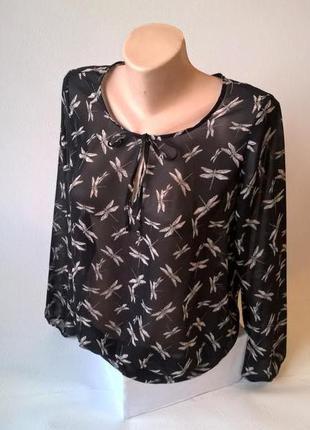 -50% на вторую вещь блуза шифоновая с принтом черная
