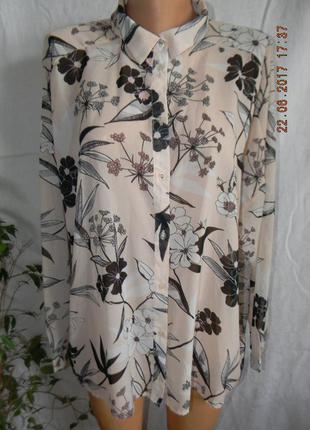 Шифоновая блуза-рубашка с принтом
