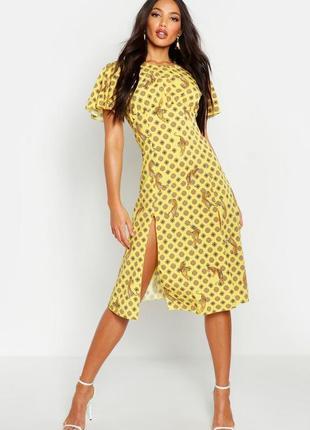 Распродажа платье boohoo миди с двумя разрезами спереди и полуоткрыто спиной с asos