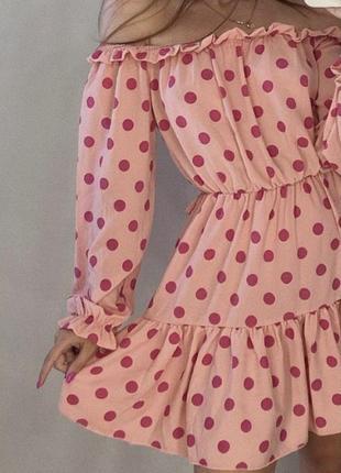 Стильное летнее платье в розовый горошек с объёмными рукавами