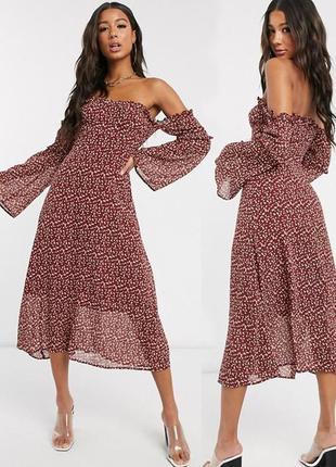Распродажа платье boohoo миди со спущенными плечами и цветочным принтом с asos