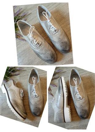 Туфли лоферы на шнуровке натуральная кожа made in italia