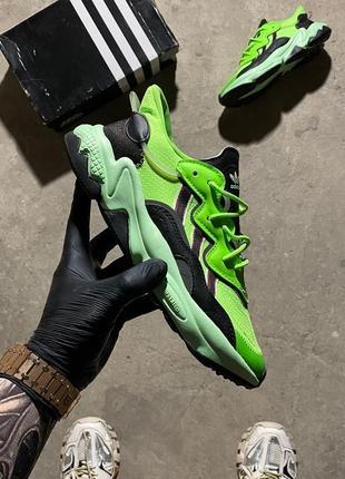 Кроссовки adidas ozweego neon green black.