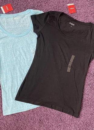Женская базовая футболка черный/голубой fox