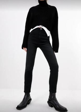 Теплые скини джинсы зара с завышенной талией р. 40