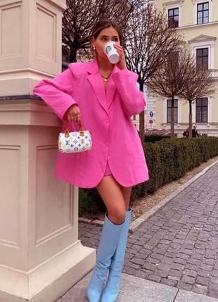 Пиджак жакет лён малиновый розовый