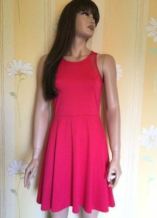 Милое трикотажное платье цвета фуксии с юбкой солнцеклёш h&m размер s