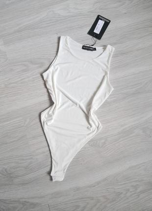 Белый базовый боди майкой ткань масло