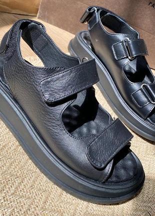 Кожаные сандалии, босоножки на липучках, шкіряні сандалі