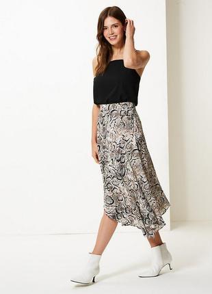 Шикарная юбка в анималистичный принт,с рюшами,из новых коллекций,marks & spencer