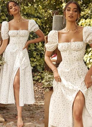 Распродажа платье hope & ivy миди с завязкой на груди milkmaid с asos