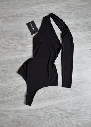 Чёрный боди ткань масло с длинным рукавом через шею