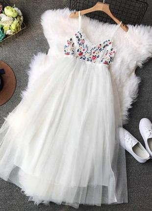 Белое платье, сарафан с вышивкой, пышное платье, платье бебидолл, фатиновое платье