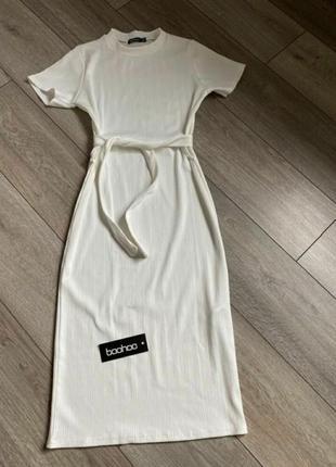Белое платье рубчик длинное миди с поясом в пол летнее