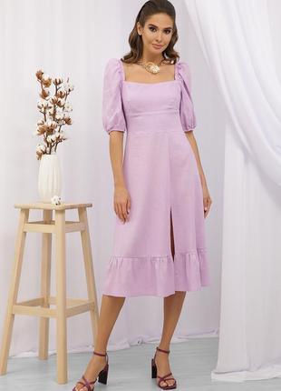 Летнее платье из льна лавандовое   47121