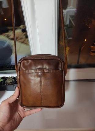 Коричневая кожаная маленькая мини сумка кросс боди mini сумочка