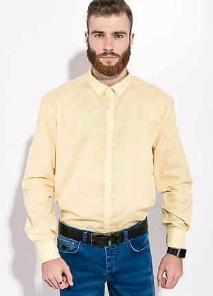 Рубашка мужская желтая с белым в клетку