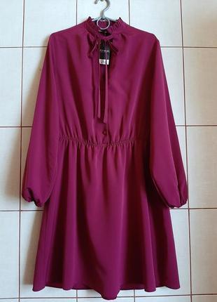 Новое базовое платье цвета марсала с длинными рукавами
